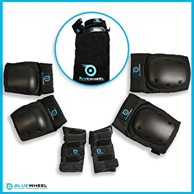 Équipement de protection BlueWheel PS200 pour hoverboard, skate, vélo BMX, skateboard; Ensemble protecteur avec réglage optimal et ajustement ferme pour les enfants et les adultes, sac de transport
