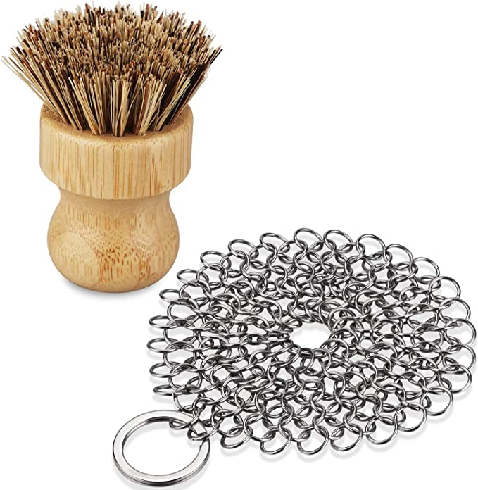 Details about  /GAINWELL Stainless Steel Chainmail Scrubber Set Cast Iron 4inch+Wood Brush