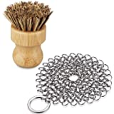 BasicForm 4in Stainless Steel Chainmail Scrubber with Wood Cleaning Brush - Cast Iron Cleaner for Pan, Skillet