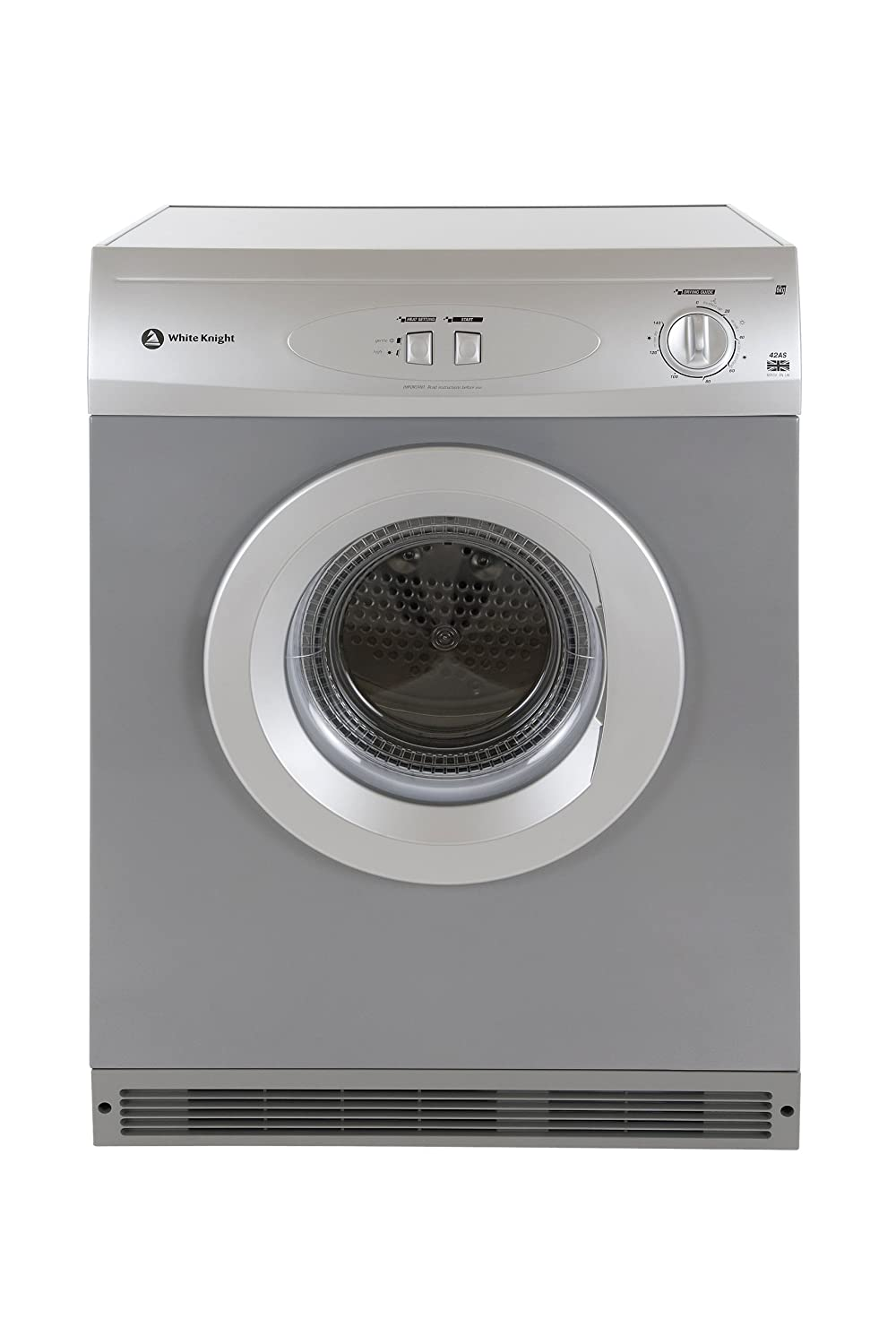 White Knight 42AS Vented Tumble Dryer, 6 Kg, Silver Crosslee