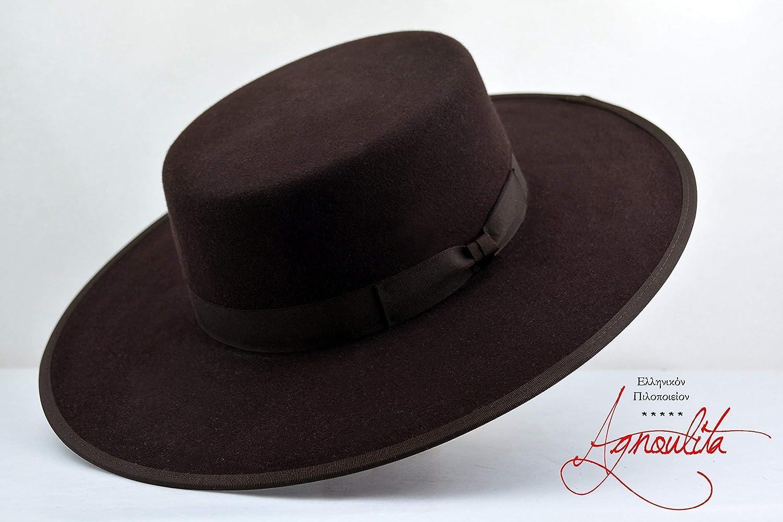 f21a0ce03b8c9 Amazon.com  The Jacoby - Rabbit Fur Felt Flat Crown Handmade Bolero Hat -  Wide Brim - Men Women  Handmade