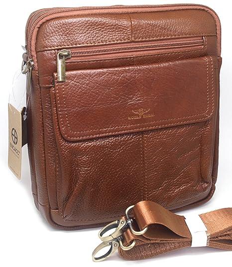 979bc88aecd Amazon.com   Small Leather Cross Body Messenger Bags Satchel Men Shoulder  Bag Casual Womens Purse (BROWN E83)   Messenger Bags