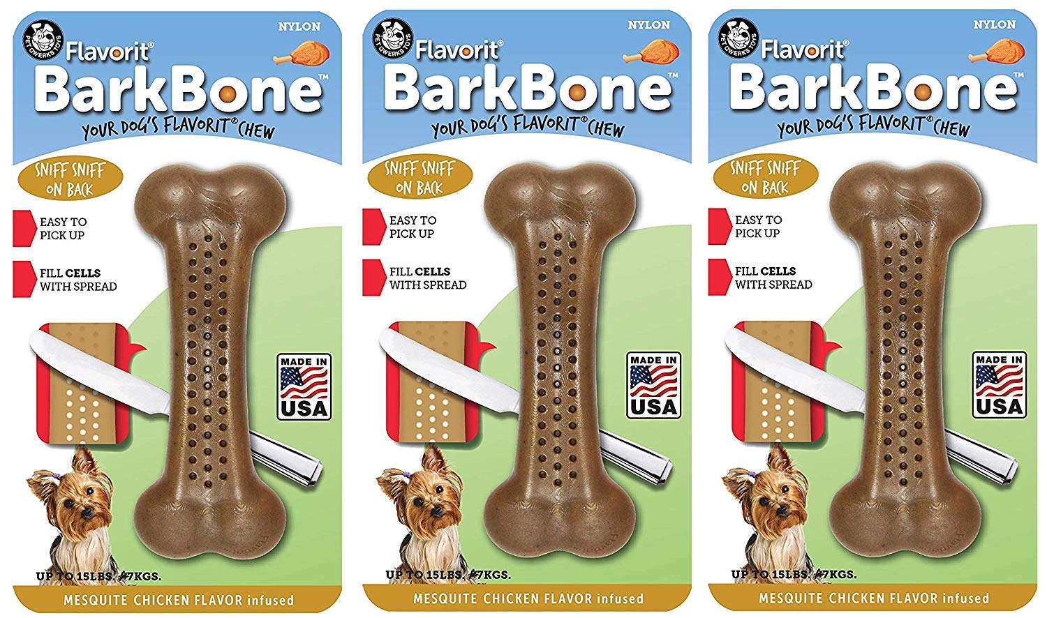 Pet Qwerks Flavorit Mesquite Chicken Flavor Infused Nylon BarkBone Aggressive