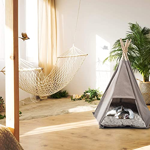 Livebest Canvas Teepee Tent for Dog Puppy Cat Pet Bed House with Cushion Ins Style Gray
