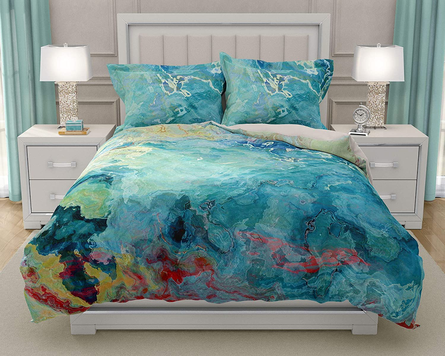 Image of King or Queen 3 pc Duvet Cover Set with abstract art, Cool Cucumber