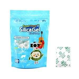 Sunny Home 10 Gram (10 Packs) Silica Gel Premium Safe Silica Gel Packs Desiccant and Dehumidifiers – Rechargeable Silica Gel Packets for Moisture Absorber