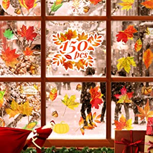 Kidtion 150 PCS Window Clings, Window Decals 30 Patterns Vivid Fall Maple Window Stickers for Christmas Window Decorations, Home & Party Autumn Decor, Reusable Fall Thanksgiving Decor Stickers