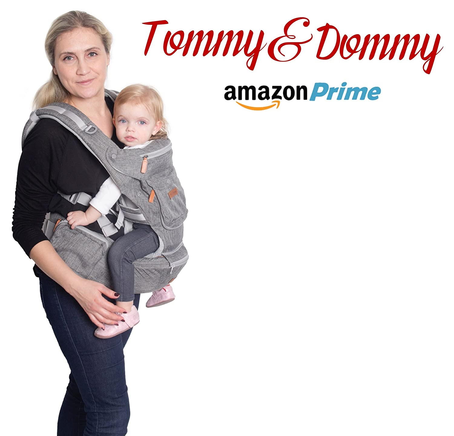 Tommy & Dommy Ergonomic Baby Carrier with Hip Seat for Newborns, Babies & Toddlers, Adjustable Baby Carrier Sling Backpack with Padded Straps, Perfect Baby Shower Gift, Baby Blue