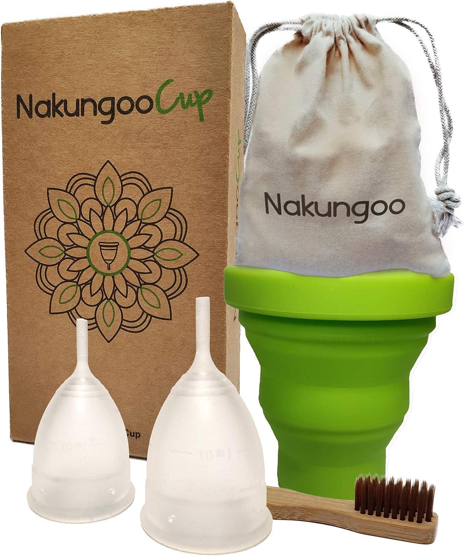 NakungooCup Copa Menstrual Kit Suave Organica Certificado 2 Copas en Talla S y L Esterilizador de Silicona Lavable Dura 12 Horas 30ml Ideal Para ...