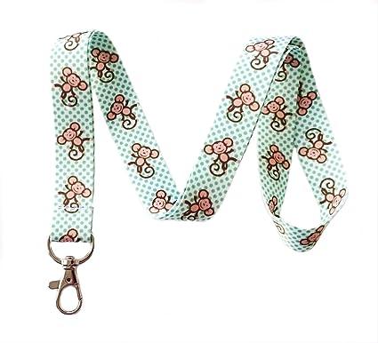amazon com monkey print lanyard key chain id badge holder office