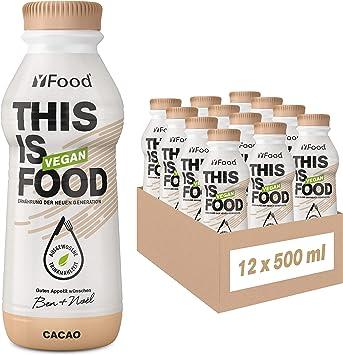 YFood Vegan Cacao | Comida Lista Para Beber | Sustitutivo de comida sin lactosa y sin gluten | 26 g de proteína, 26 vitaminas y minerales | Bebida ...