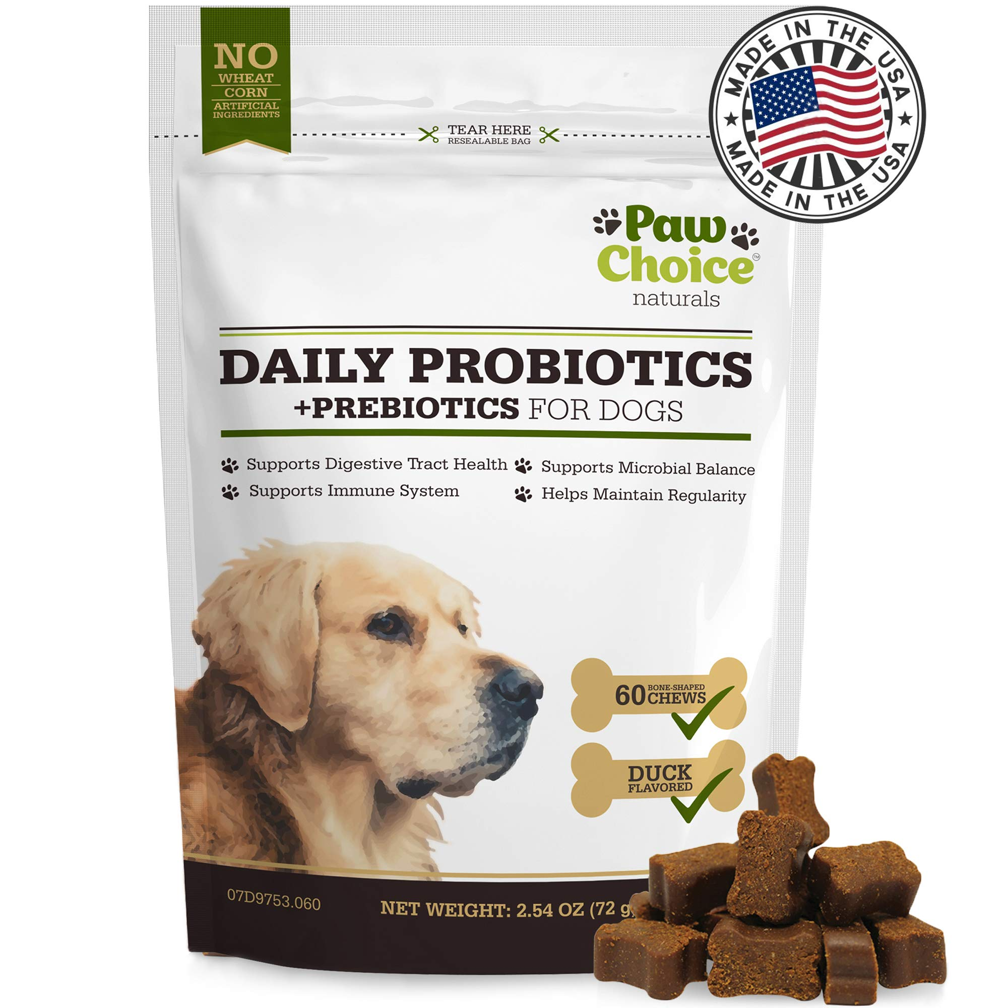 Probiotics for Dogs with Prebiotics - Daily Chews for Digestion, Regularity, Diarrhea Relief, Plus Supports Immune System and Health - Natural Supplement and Treat Made in USA by Paw Choice
