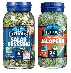 Litehouse Freeze-Dried Fiery Salad Bundle, (Salad Dressing Blend, Jalapeno), 2-Pack