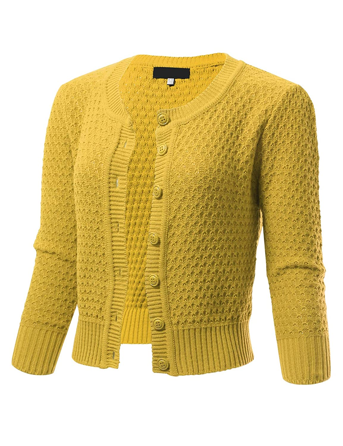 Honey ARC Studio Womens Button Down 3 4 Sleeve Cropped Knit Cardigan Crochet Sweater (SXL)