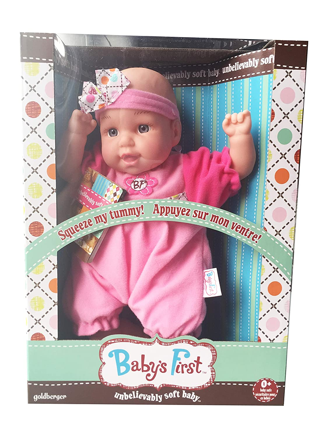 Air Baby Unbelievably Soft 13 inch Baby Doll - Pink with Stripes Goldberger Doll Mfg. 29F66A74