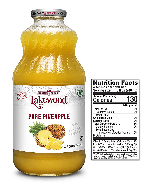 Lakewood Premium PURE Pineapple Juice (32 oz, 6 pack)