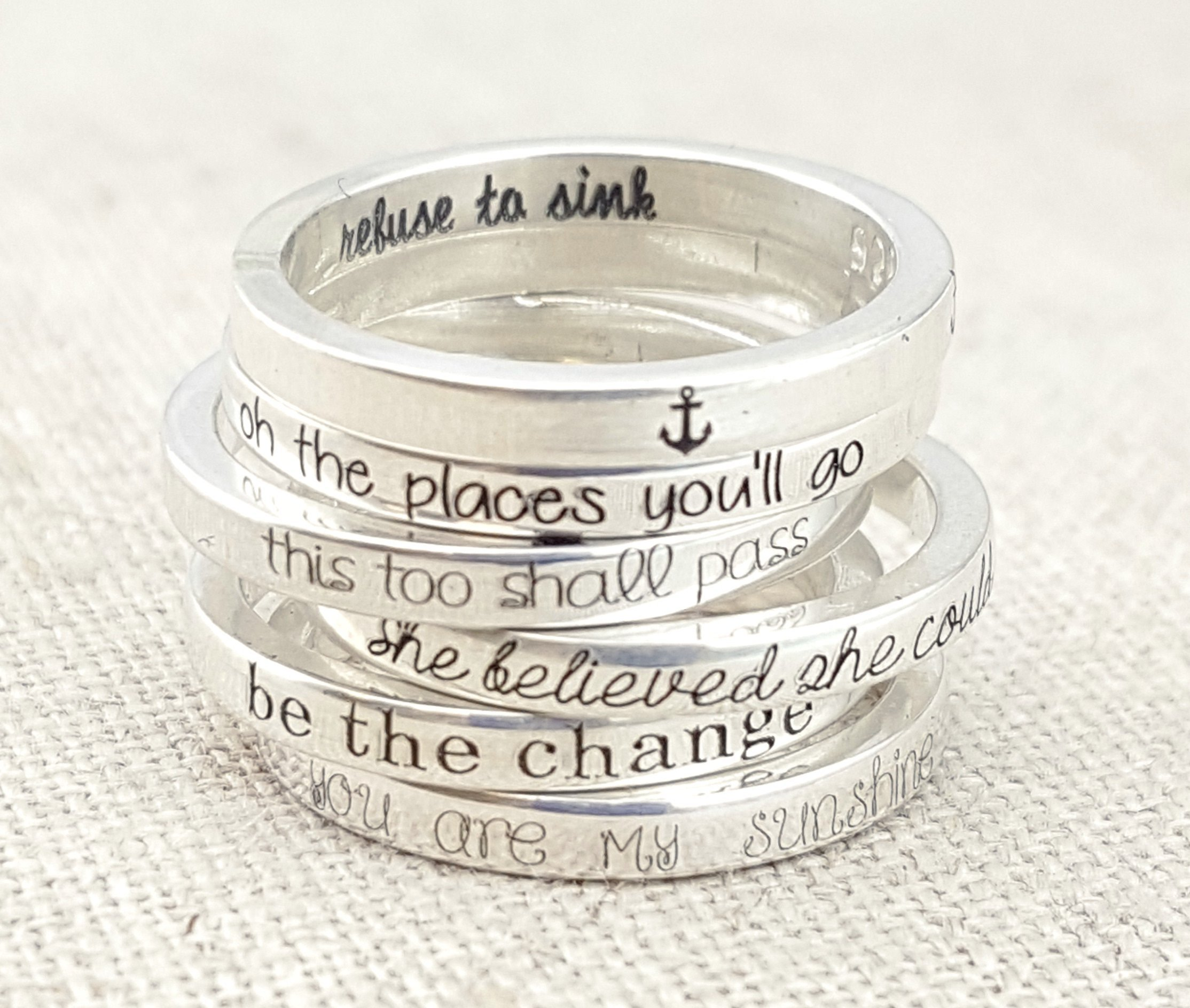 Thin Inspiration Ring - Silver Stacking Ring - 925 Silver Ring - Refuse to Sink - This too shall pass - Silver Jewelry