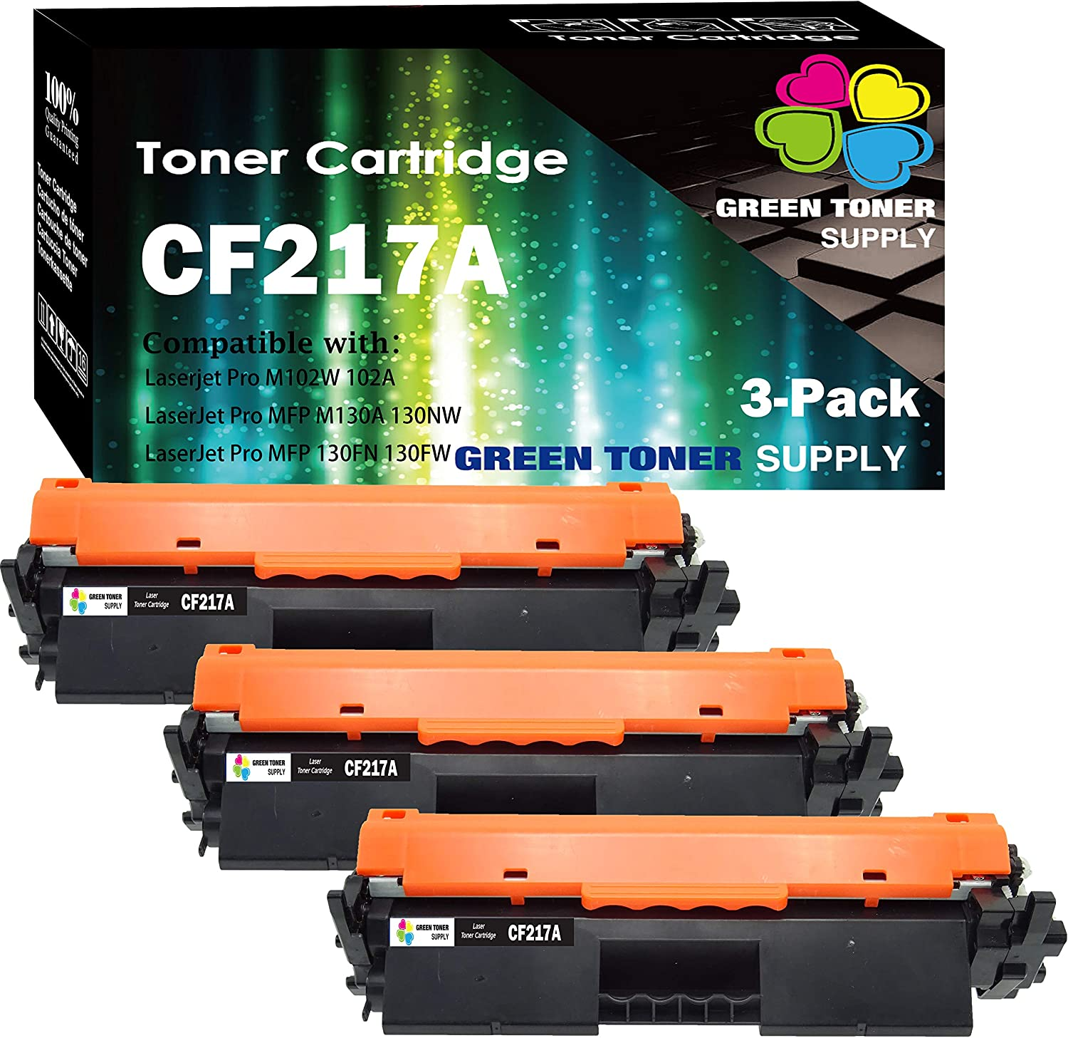 (3-Pack) Compatible 17A CF217A Toner Cartridge 217A Used for HP Laserjet pro M102a M102w MFP M130nw M130fw M130fn M130a Printer, by GTS