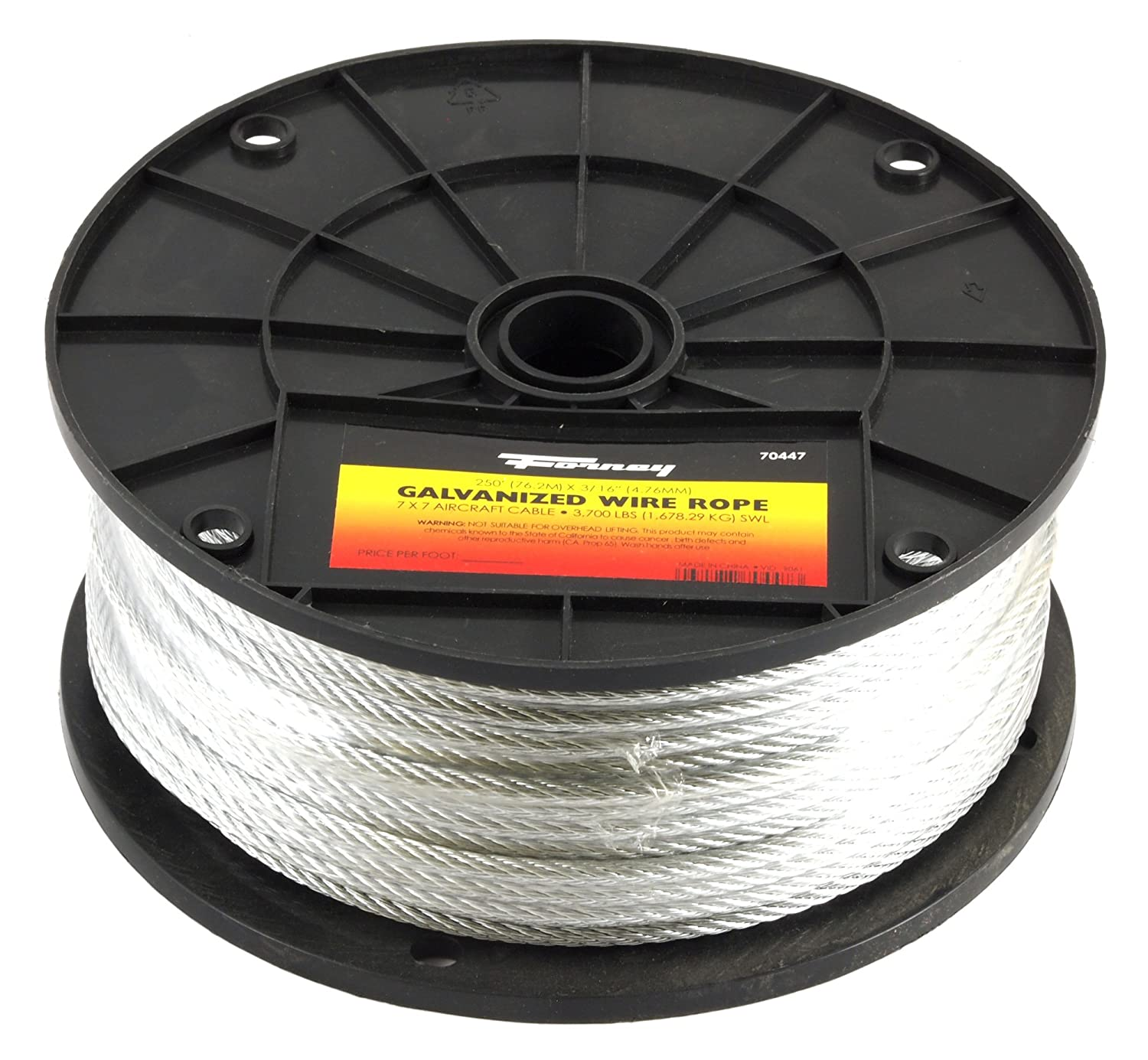 Forney 70447 Wire Rope, Galvanized Aircraft Cable, 250-Feet-by-3 ...