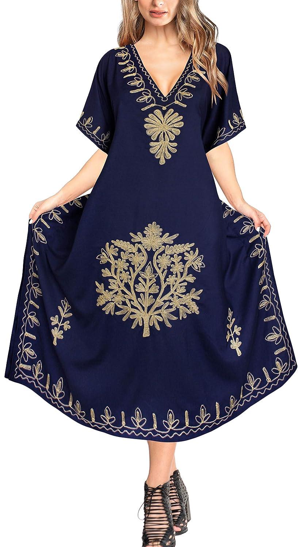 LA LEELA Mujeres caftán Rayón túnica Bordado Kimono Libre tamaño Largo Maxi Vestido de Fiesta para Loungewear Vacaciones Ropa de Dormir Playa Todos los días Cubrir Vestidos AJ