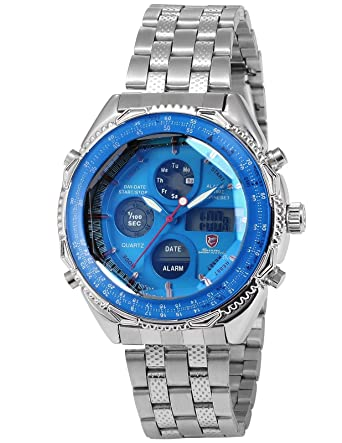 Eightgill Shark Mens LCD Digital Date Day Stopwatch Stainless Blue Dial Sport Wrist Watch SH110
