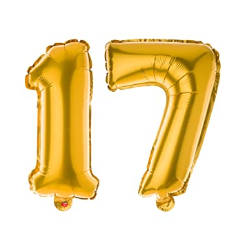Ella Celebration Non Floating 17 Number Balloons For 17th Birthday Party 13 Inch Balloon