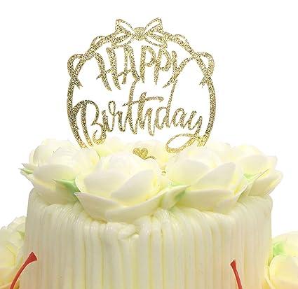 Happy Birthday Cake Topper KOOTIPS Acrylic Gold Twinkle DIY Glitter First Cupcake