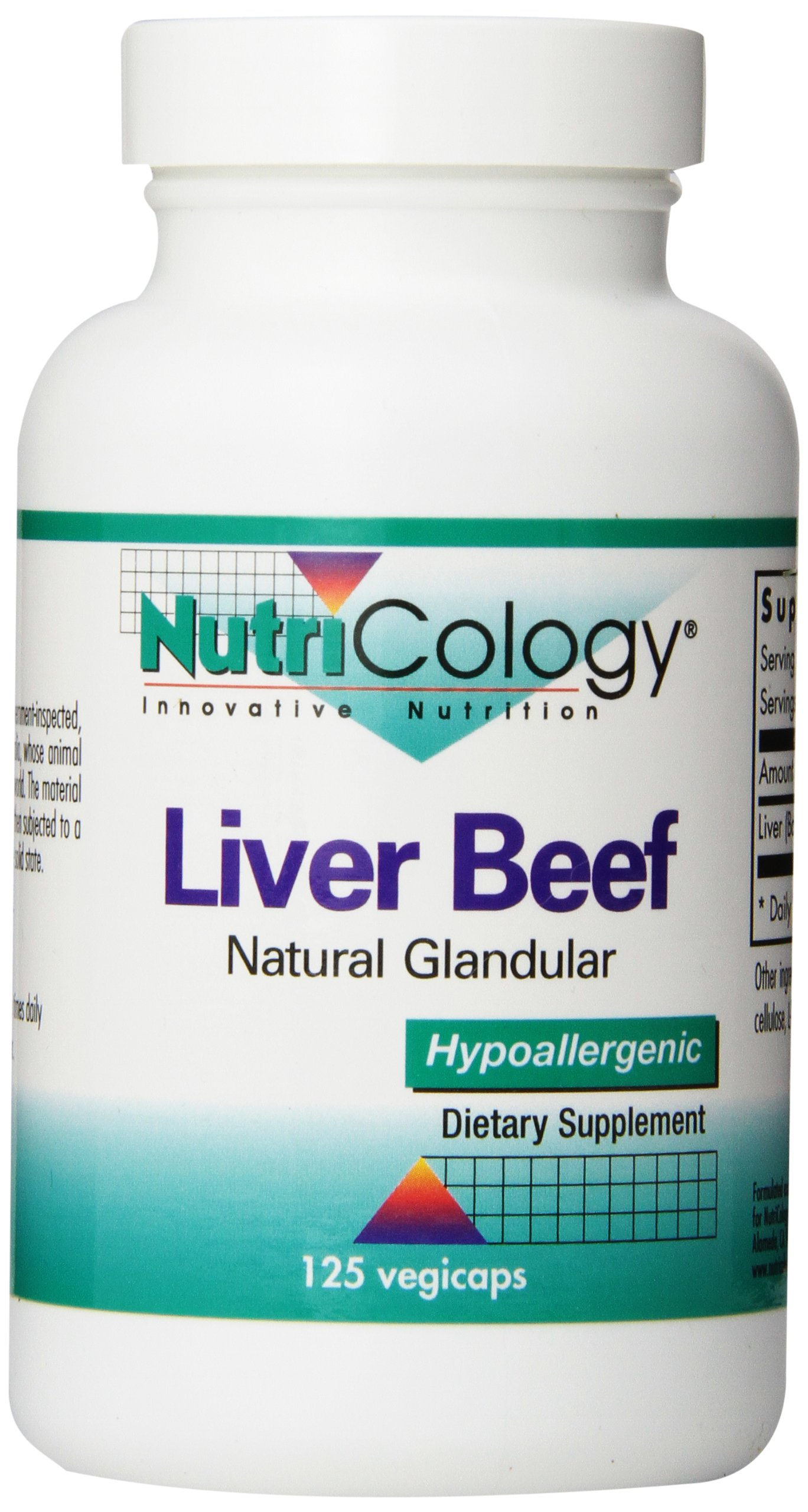 Nutricology Liver Beef, 125 Vegicaps by Nutricology
