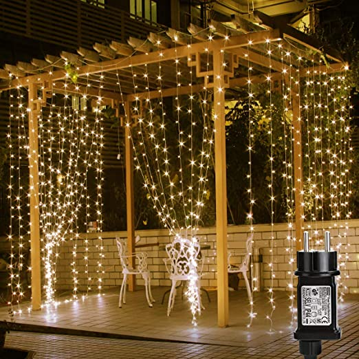 Lepro Cortina de Luces LED con Enchufe 3x3m 306 LED, Luz Decorativa Blanco Cálido, Impermeable para a Interior y Exterior, 8 Modos Luz, Cadena Luces ...