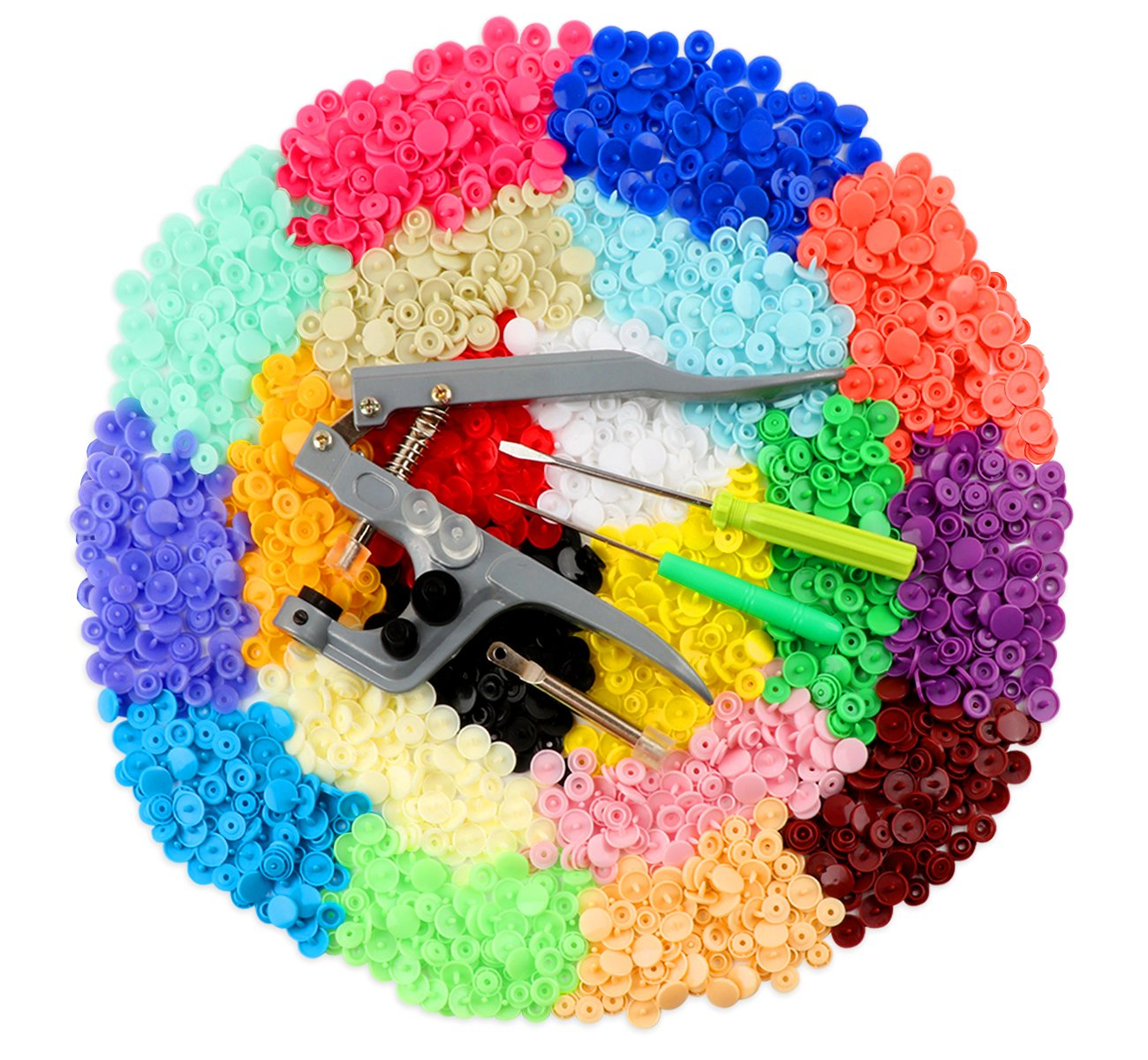 ilauke Snap Buttons Fasteners 20 Colors Poppers with Snap Pliers, 400 Sets ilauke-buttons kit 400