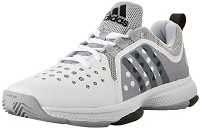 adidas Performance Men's Barricade Classic Bounce Tennis Shoes,White/Black/Clear  Onix Grey