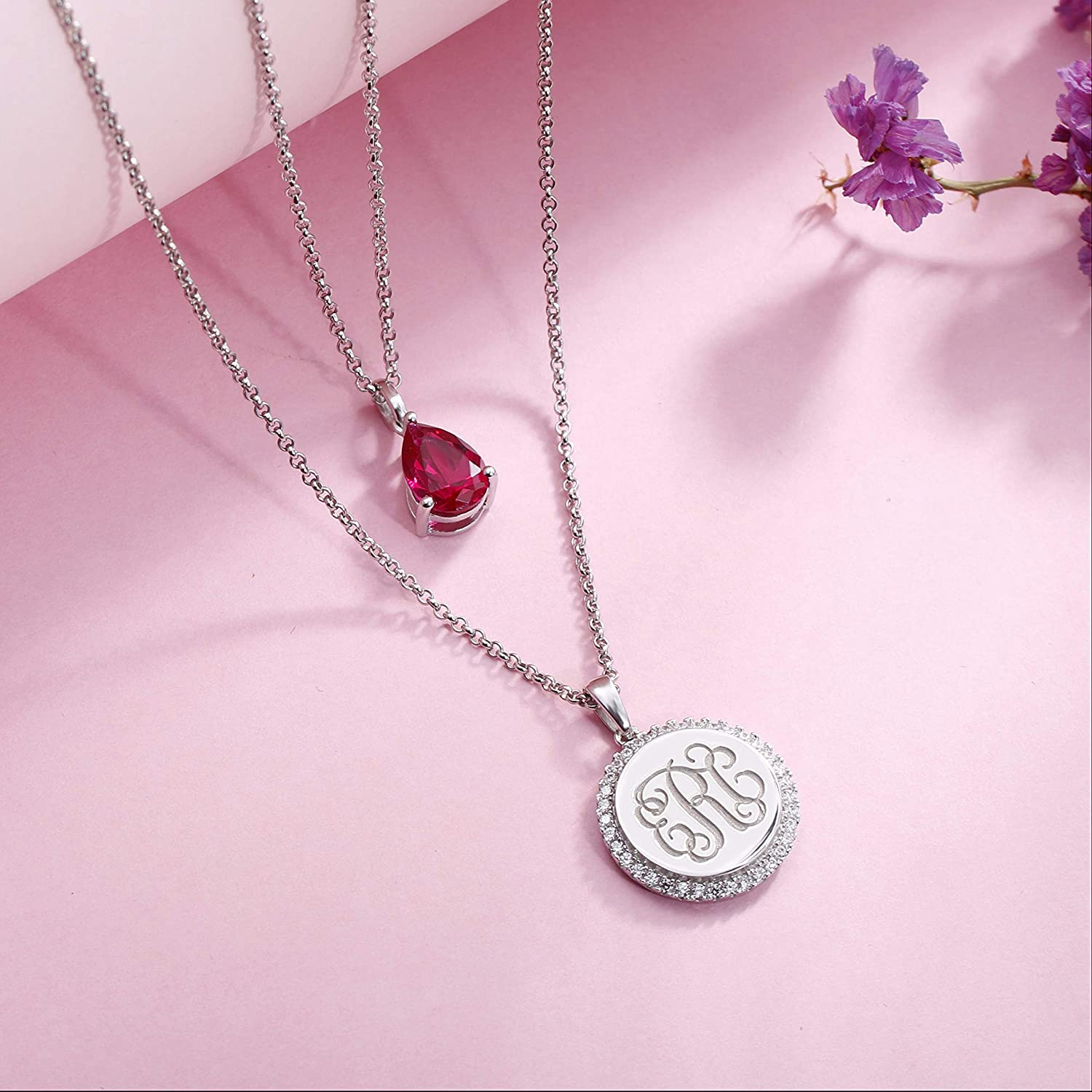 Getname Necklace Personalized Custom 2 Layered Monogram Initial Necklace 925 Sterling Silver with Birthstone for Women