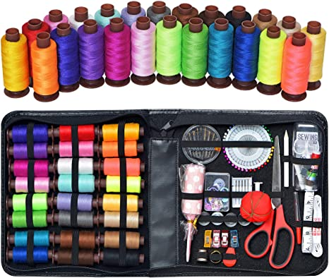 24 Pc SEWING KIT// SEWING SET ACCESSORY KIT WITH THREADS NEEDLES SCISSORS /& MORE