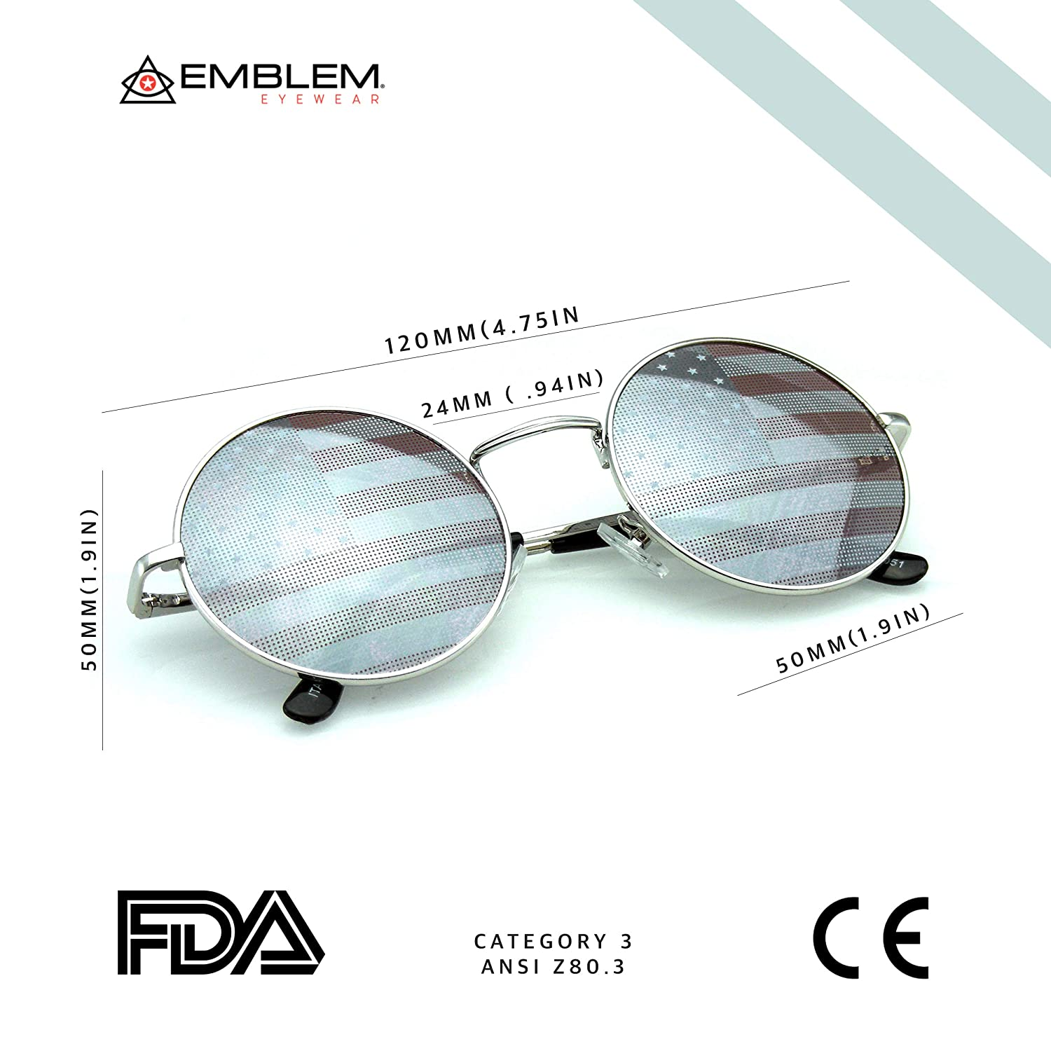 9cded55e4df Amazon.com  Emblem Eyewear - John Lennon Inspired Sunglasses Round Hippie  Shades Retro Colored Lenses (American Flag)  Clothing