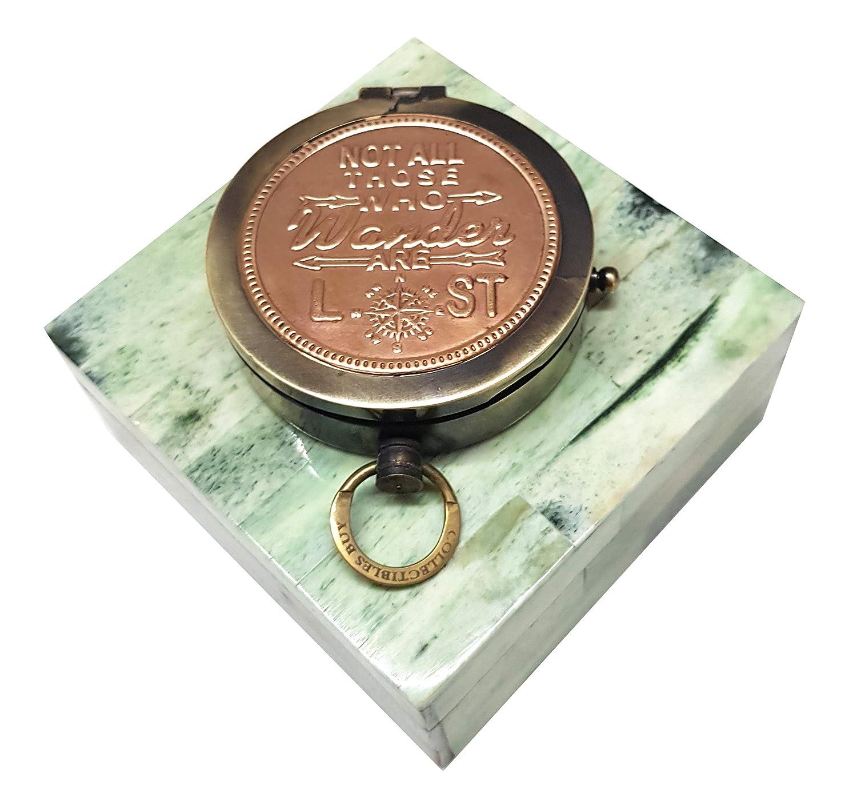 デザイナーグリーンボーンインレイボックスコンパス ヴィンテージ銅仕上げ 船方向指示ハンドメイド - アンティークコレクション