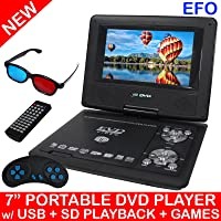 """TODO Portable 7"""" LCD DVD Player Rechargeable Battery USB Sd Game Avi Mpeg4 Mp3 Divx"""