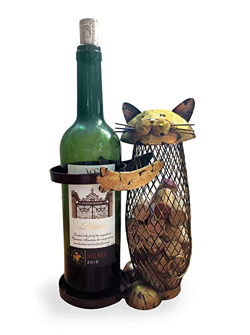 Wine Cork Holder And Bottle Rack A Decorative Wine Cork Holder Wine Barrel In The Shape Of A Cute Metal Cat Great For Wine Corks Of All Sizes