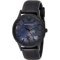 Emporio Armani Men's Black Dial Leather Analog Watch - AR11276