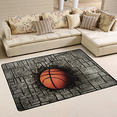 ALAZA Stone Wall Basketball Area Rug Rugs Mat