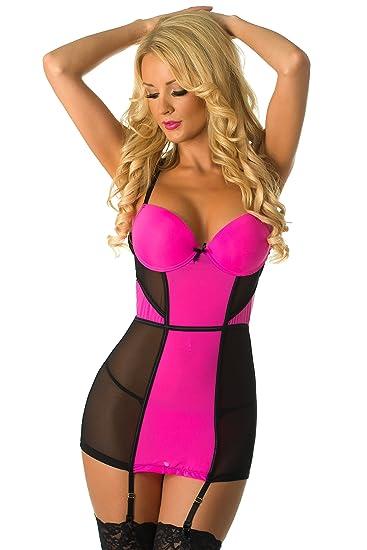 Velvet Kitten Color Blocking Hot Pink Black Chemise Lingerie 514120