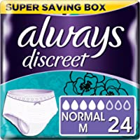 Always Discreet Incontinence, Pants size M for Women with sensitive bladder, 5 drops absorbency - Super saving box - 2 packs of 12 count (Total 24 count)