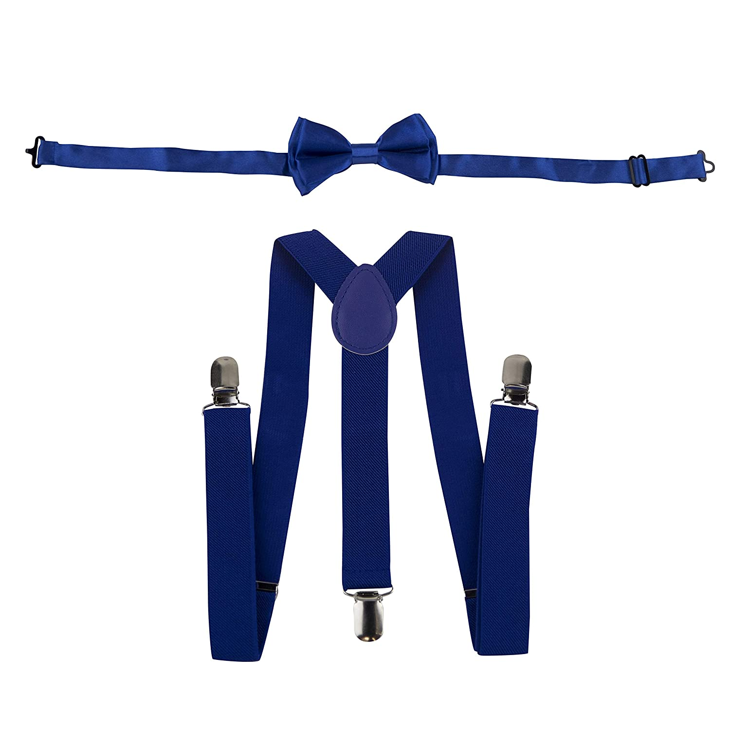 Suspenders and Bow Tie Set for Kids – Matching 2 Piece Set – Adjustable Size