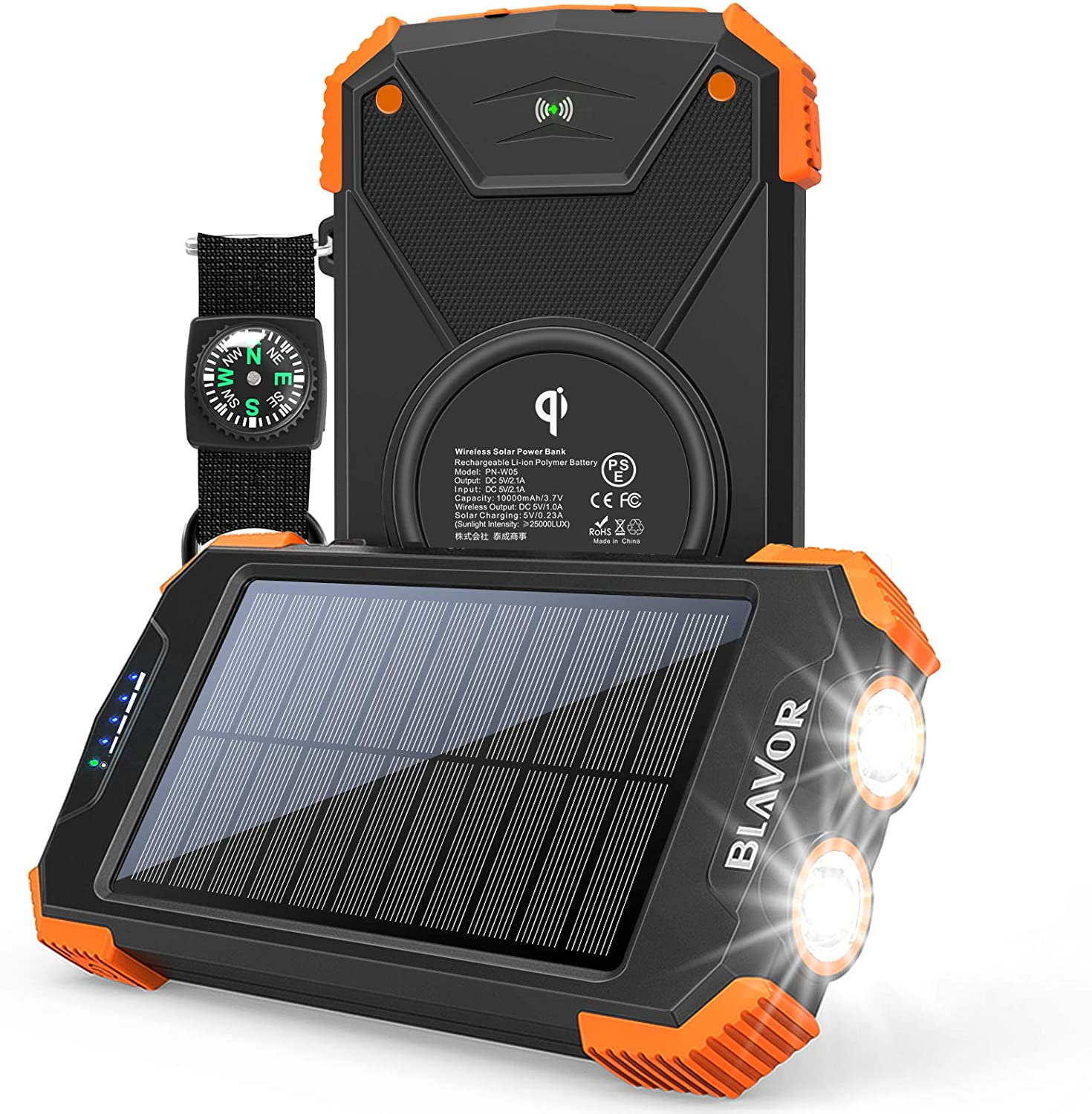Black and orange solar power bank with torch function