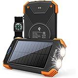 Solar Power Bank, Qi Portable Charger 10,000mAh External Battery Pack Type C Input Port Dual Flashlight, Compass, Solar Panel