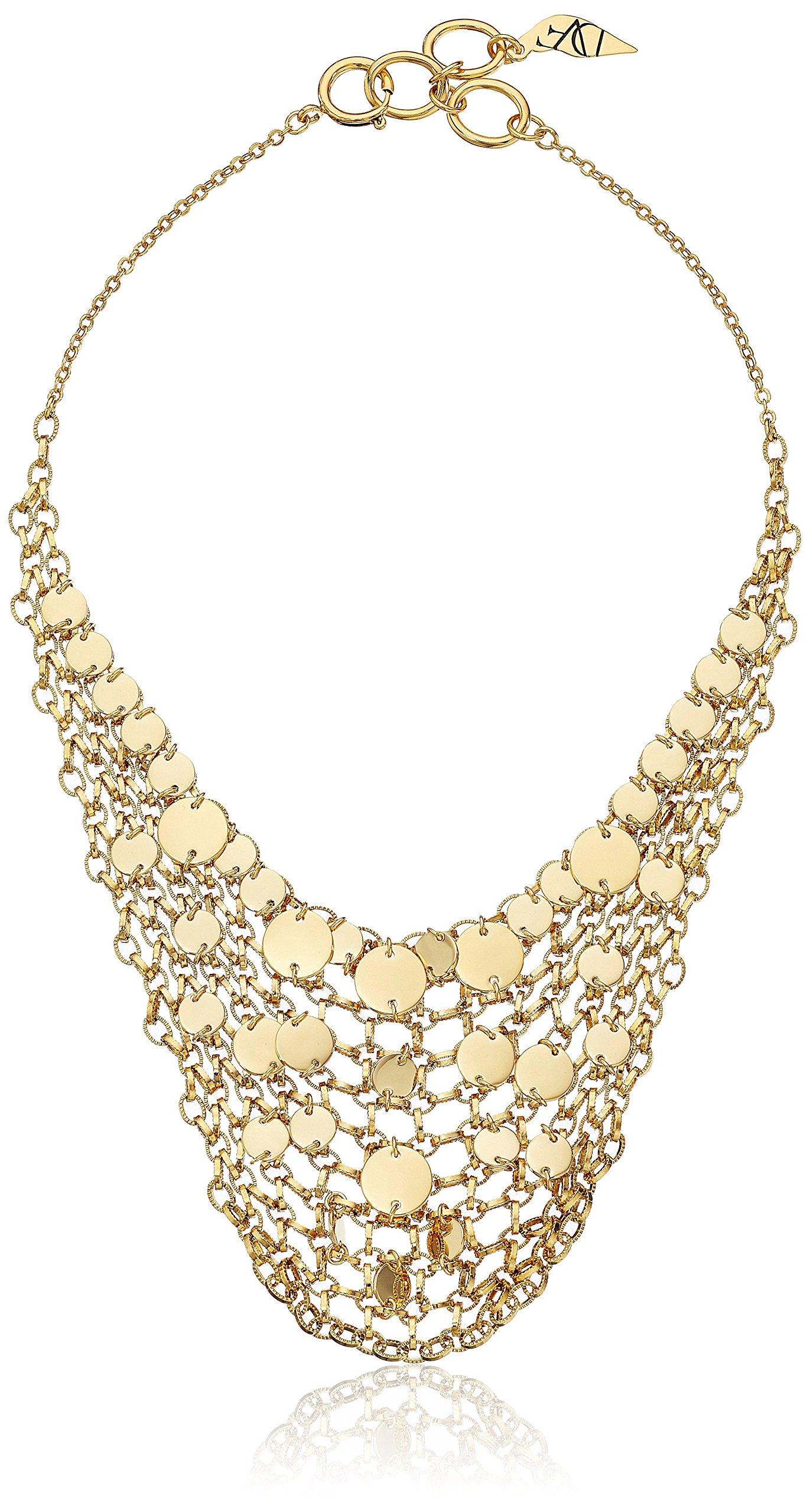 Diane von Furstenberg ''Summer Disco'' Circle Mesh Chain Bib Necklace, 18''