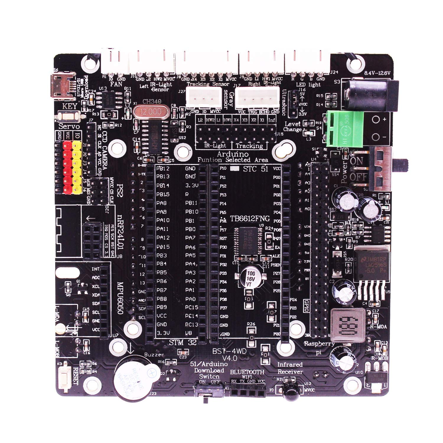 Yahboom Expansion Board with Abundant Sensor Interface Extension Board Breakout Shield for Arduino UNO, Raspberry Pi, STM32, 51 Controller