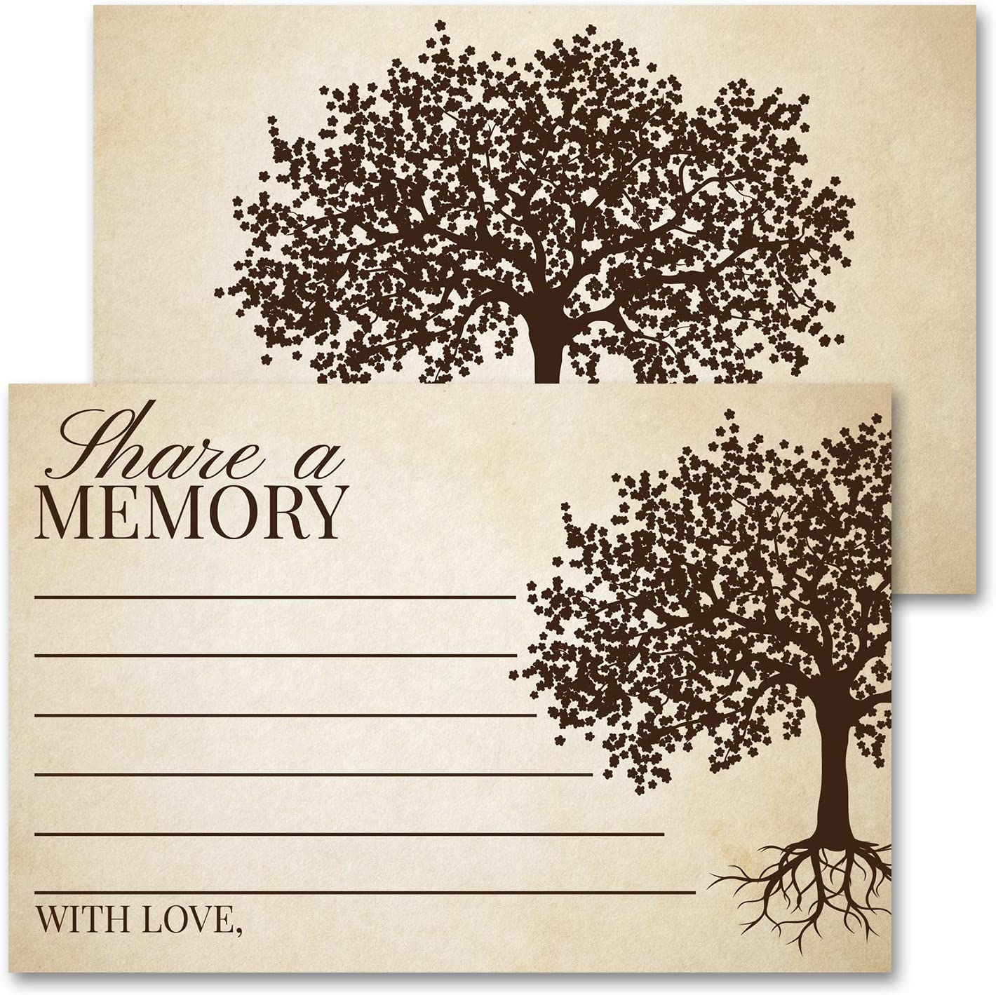 """Deluxe Share A Memory Card Celebration of Life, Funeral Memorial Rememberance Service, Condolence Book, Retirement, Tree of Life Guestbook Alternative Pack of 40 4 x 6"""" Cards"""