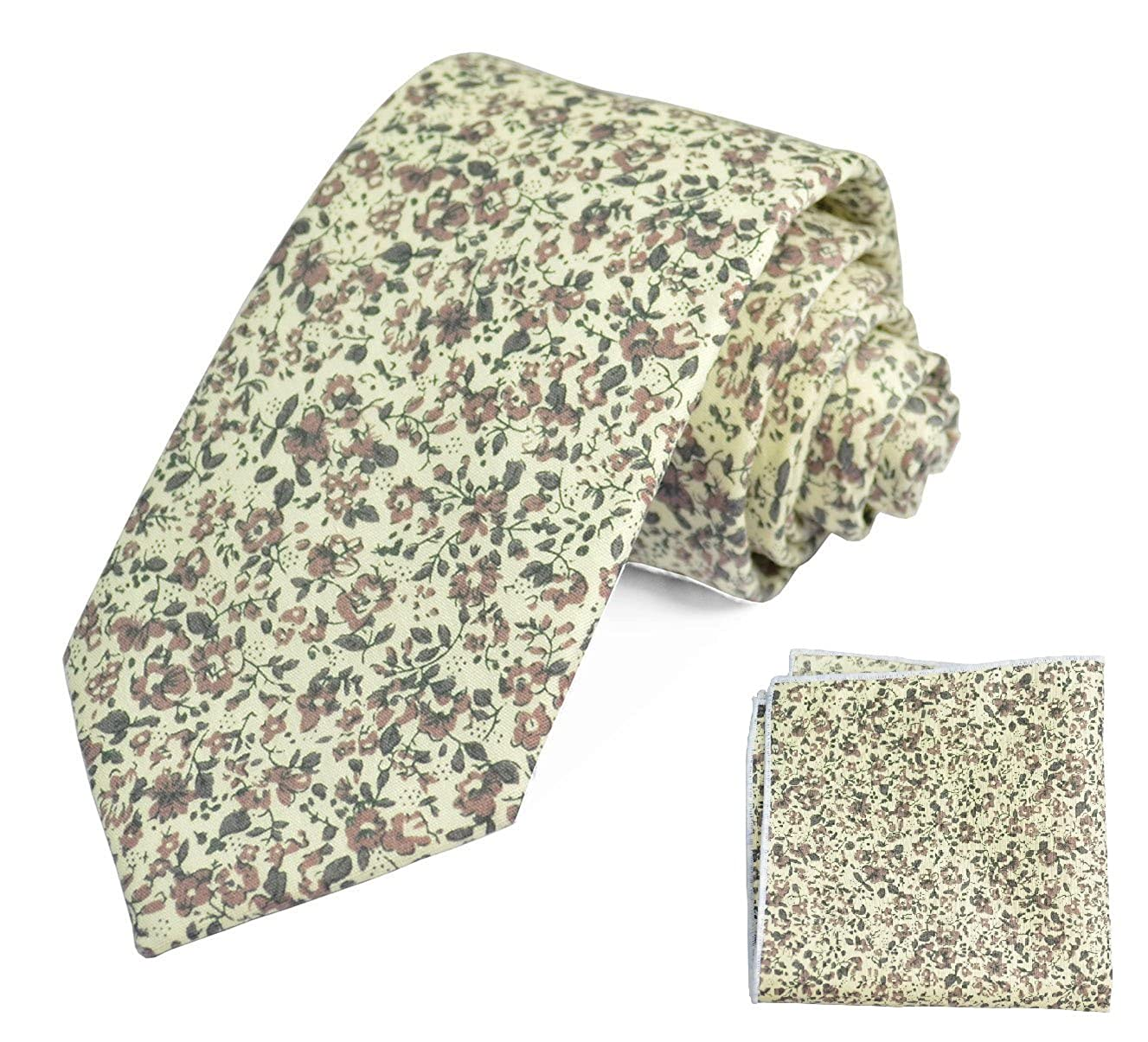 Wisteria Flowered 100/% Cotton Tie and Pocket Square Set by Paul Malone