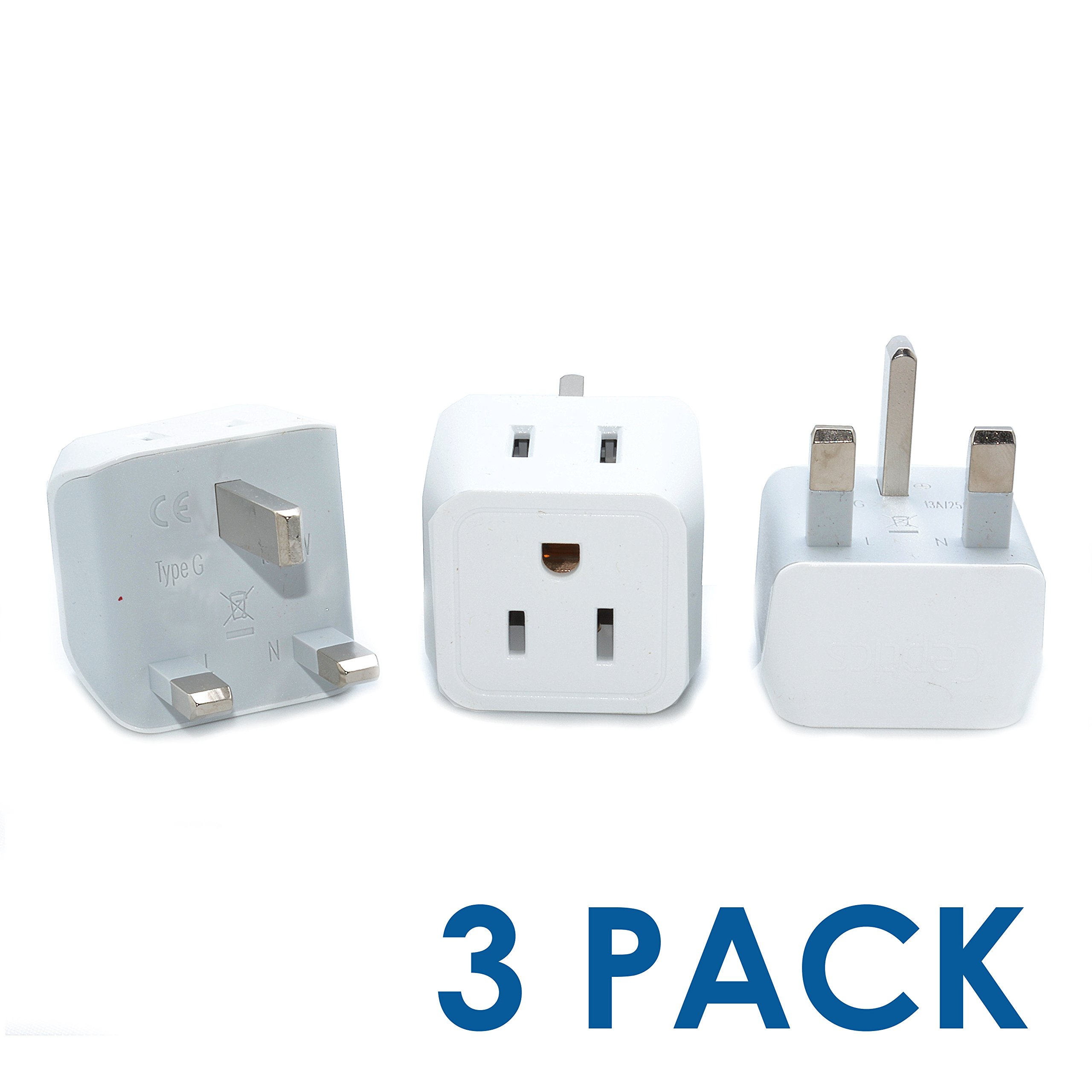 Ceptics USA to UK, Hong Kong Travel Adapter Plug - Type G (3 Pack) - Dual Inputs - Ultra Compact (Does Not Convert Voltage)