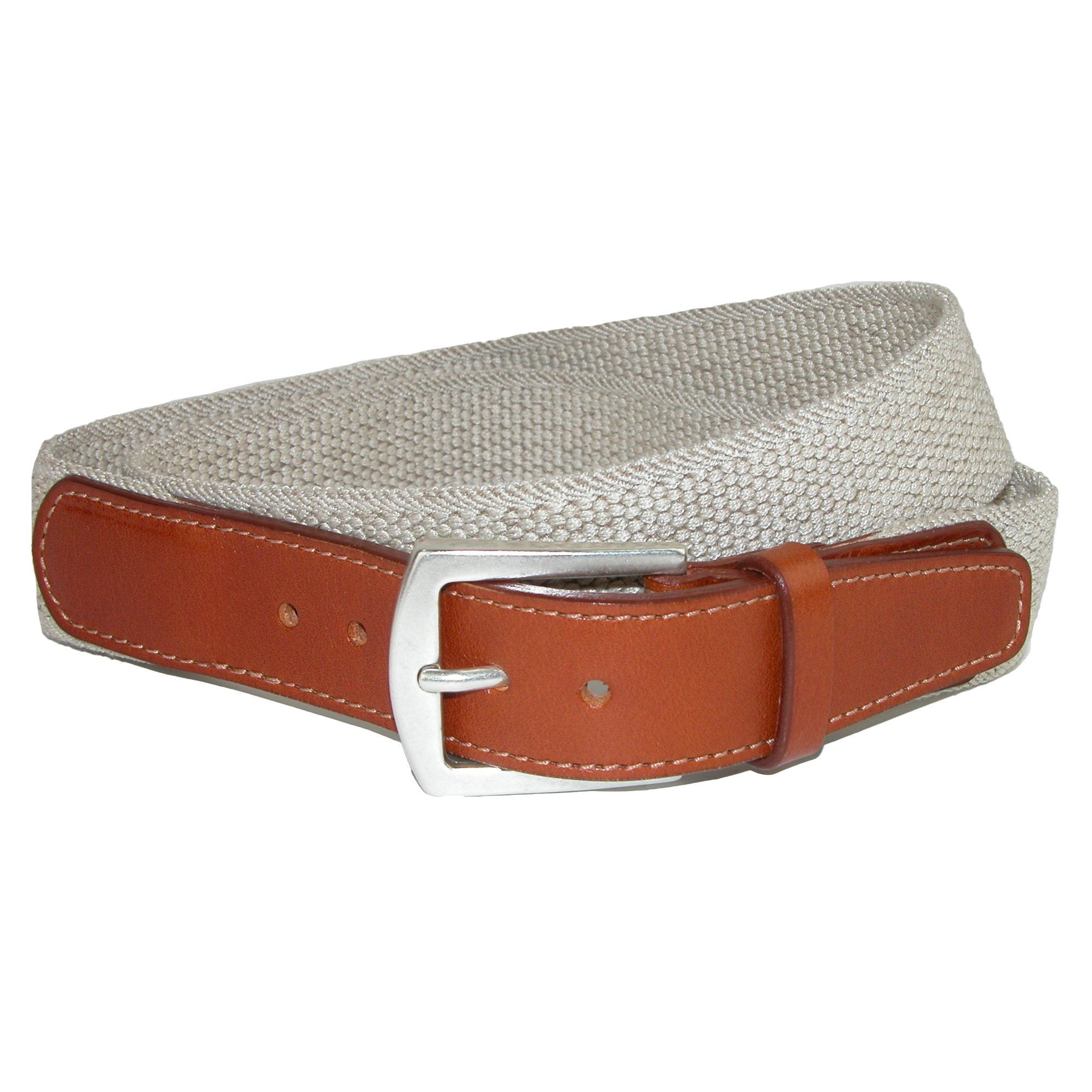 CrookhornDavis Men's Newport Pique Cotton Woven Elastic Belt, 34, Tan